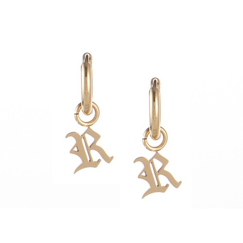 Gold plated gothic initial R huggie earrings in stainless steel