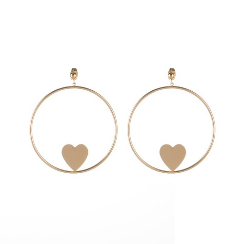 Polish bizuteria stali kolczyki Large circle with heart earrings