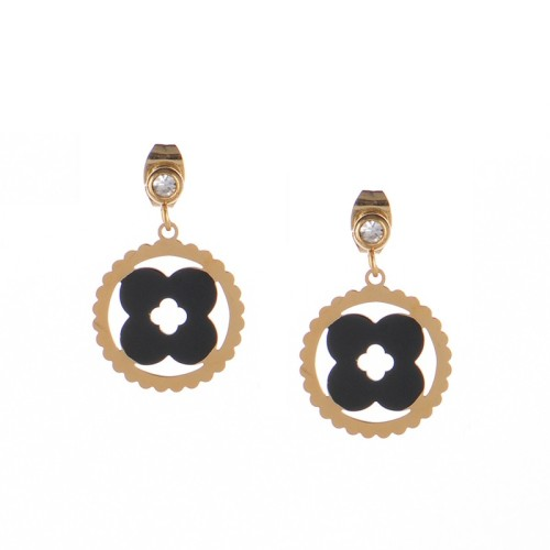 Polish bizuteria kolczyki Monogram clover drop earrings with cubic zirconia