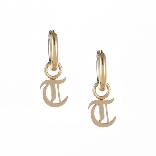 Gold plated gothic initial T huggie earrings in stainless steel