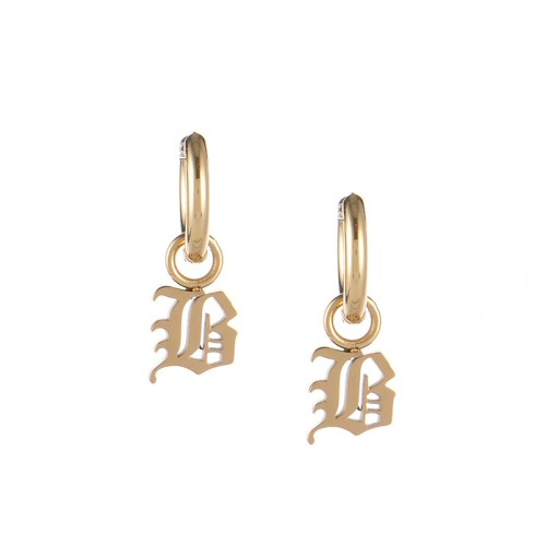 Gold plated gothic initial B huggie earrings in stainless steel