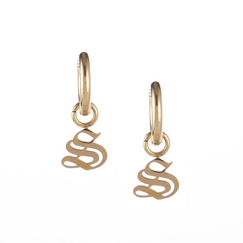 Gold plated gothic initial S huggie earrings in stainless steel