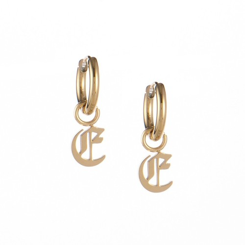 Gold plated gothic initial E huggie earrings in stainless steel