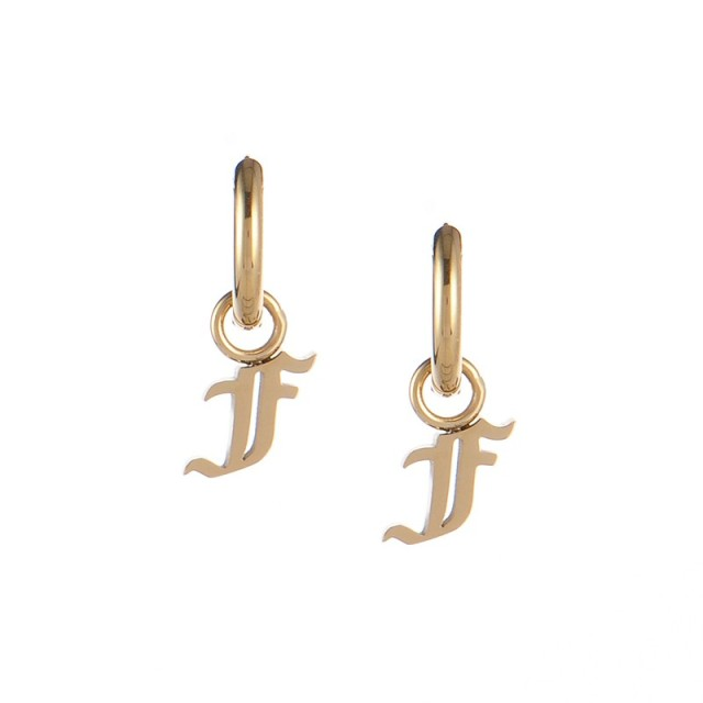 Gold plated gothic initial F huggie earrings in stainless steel