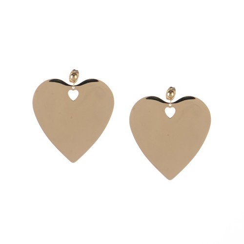 Large heart disc earrings in stainless steel jewelry