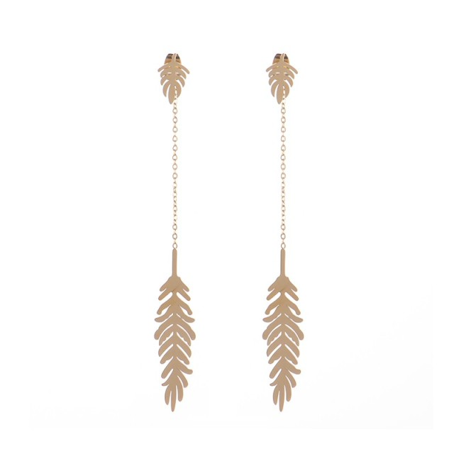 Tropical leaf drop front back chain earrings in stainless steel