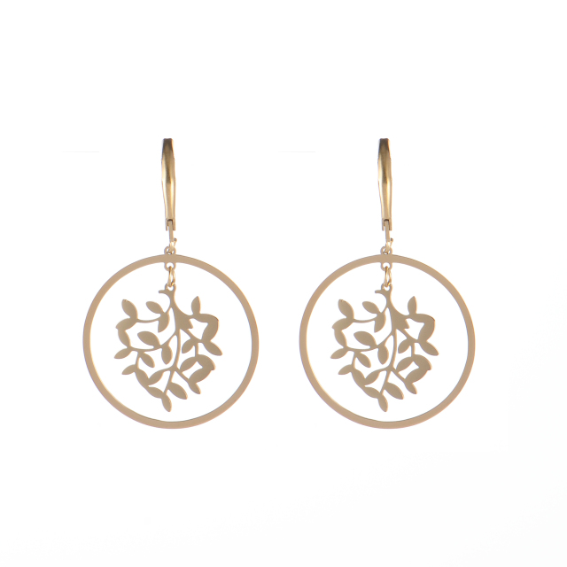 Stainless steel drop of leaf branch and circle earrings