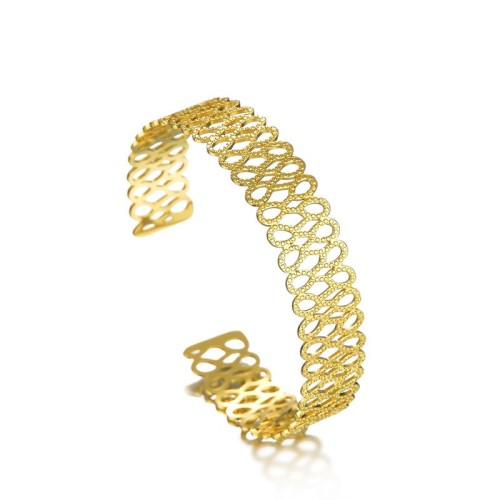 Multi infinity hollow cuff bracelet in gold plating stainless steel