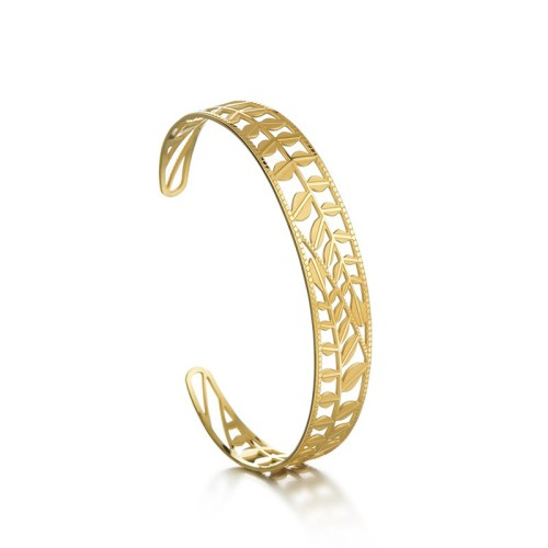 Leaf and branch cuff bracelet in gold plated stainless steel
