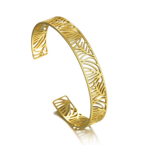 The veins of the leaves cuff bracelet in gold plated stainless steel