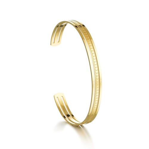 Polka linear cuff bracelet in gold plated stainless steel