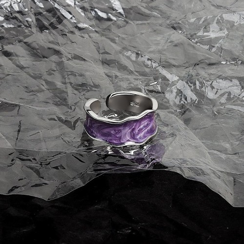 Wave lineout enamel purple silver tone opening ring NJ686-S-P