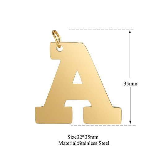 Gold plating big uppercase alphabet initial charm in stainless steel T585G-A