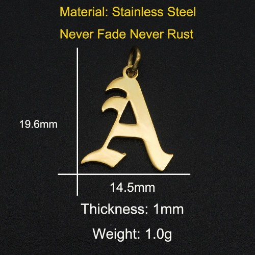 Gothic initial letter charm pendant in Stainless steel with gold finish JA566-A