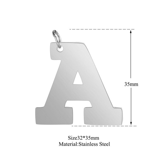 Big uppercase alphabet A-Z initial charm in stainless steel T585S-A