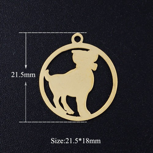 Zodiac symbols pendant astrology horoscope disc charm in Stainless steel with gold plating JN363-1x5-1