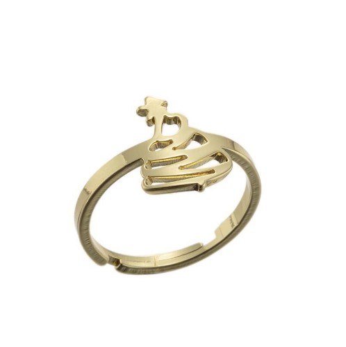 Christmas tree adjustable ring in gold plated stainless steel GJZ005-030-G