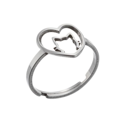 Stainless steel cat in heart adjustable ring in gold plating GJZ005-09-G