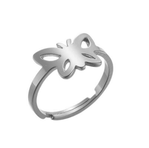 Stainless steel openwork butterfly adjustable ring in gold plating GJZ005-012-G