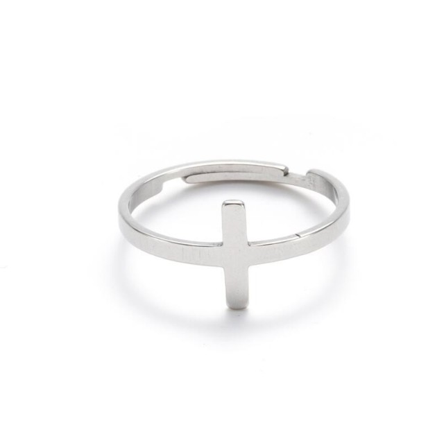 Cross T adjustable opening ring in stainless steel GJZ036-S