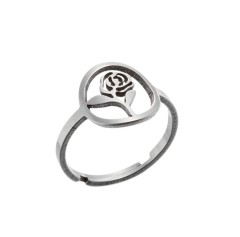 Gold plating rose flower adjustable ring in stainless steel GJZ005-018-G