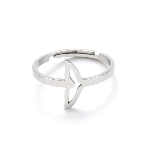 Whale tail adjustable opening ring in stainless steel GJZ033-S