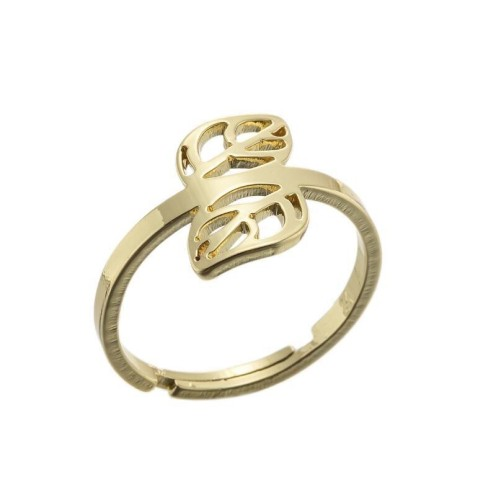 Double leaf adjustable ring in gold plated stainless steel GJZ005-032-G