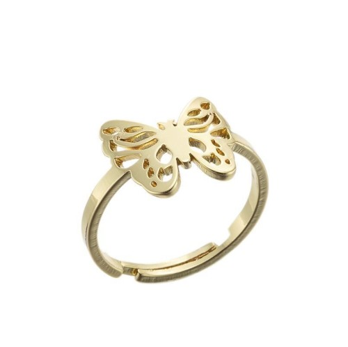 Stainless steel filigree butterfly adjustable ring in gold plating GJZ005-011-G