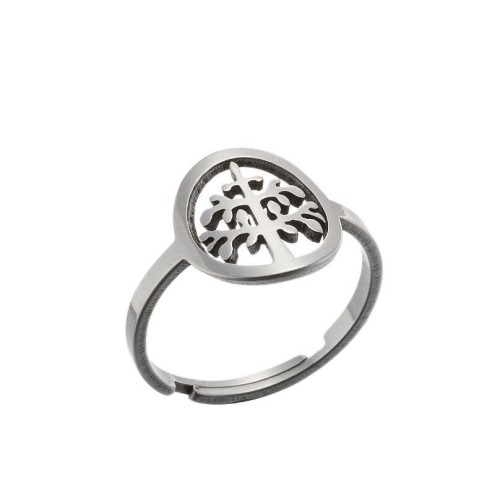 Tree of life adjustable ring in gold plated stainless steel GJZ005-028-G
