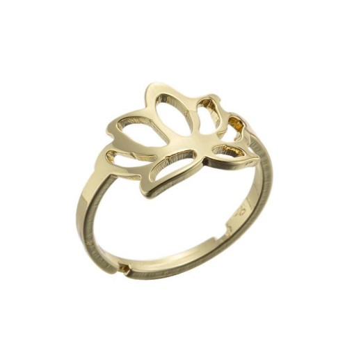 Lotus adjustable opening ring in gold plated stainless steel GJZ005-027-G
