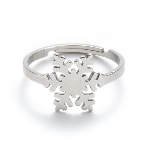 Snowflake adjustable opening ring in stainless steel GJZ034-S