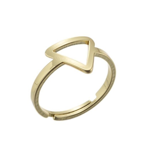 Stainless steel triangle cental adjustable ring in gold plating GJZ004-G