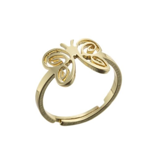 Stainless steel hollowed butterfly adjustable ring in gold plating GJZ005-013-G