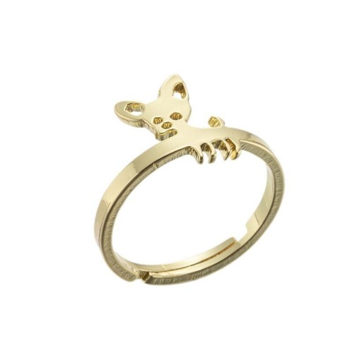 Stainless steel dog adjustable ring in gold plating GJZ005-010-G