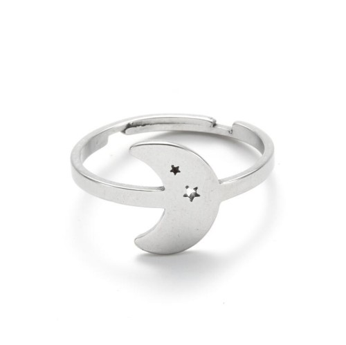 Moon and star adjustable opening ring in stainless steel GJZ035-S