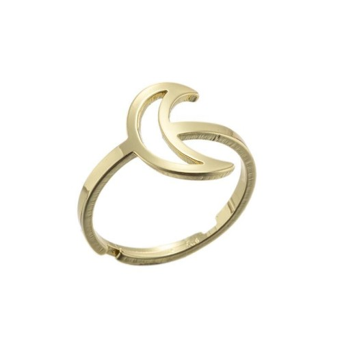 Stainless steel openwork moon central adjustabe ring in gold plating GJZ005-07-G