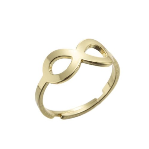 Stainless steel infinity central adjustable ring in gold plating GJZ005-05-G