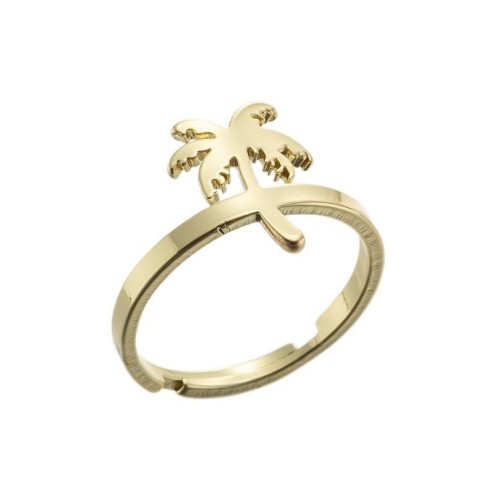 Palm tree adjustable ring in gold plated stainless steel  GJZ005-031-G