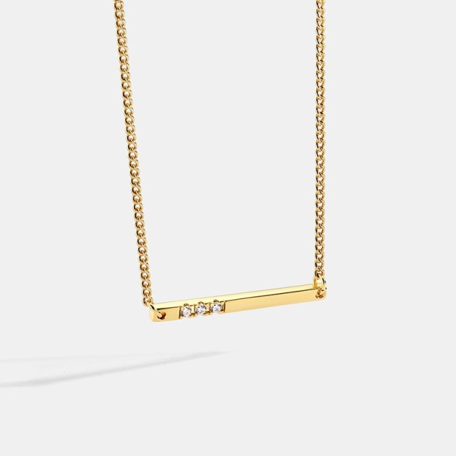 Horizontal bar with triple cubic zirconia minimalist necklace
