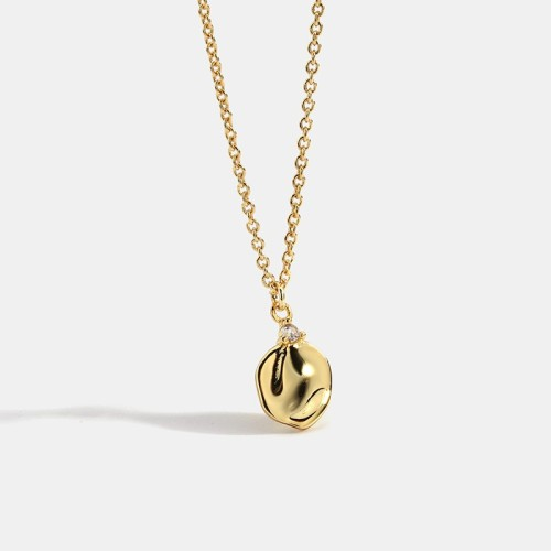 14k gold plating flower petal minimalist necklace in brass