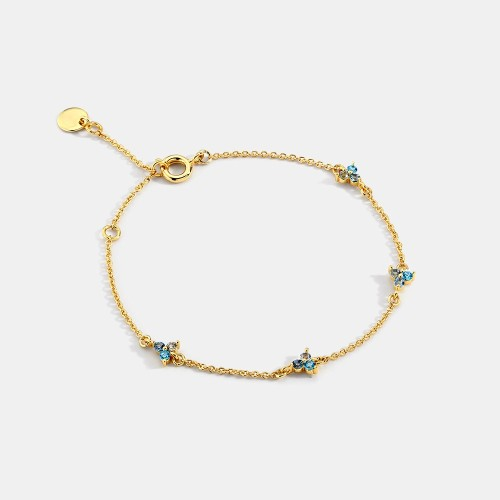 Minimalist trio stone station chain bracelet in 14k yellow gold plating