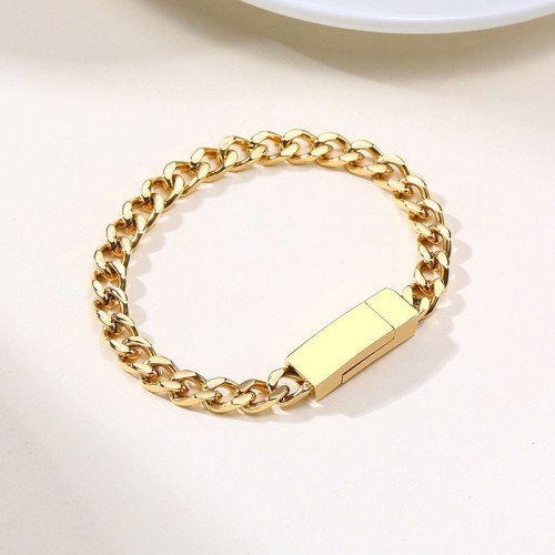 Gold plated chunky curb chain bracelet with magnet buckle B-872