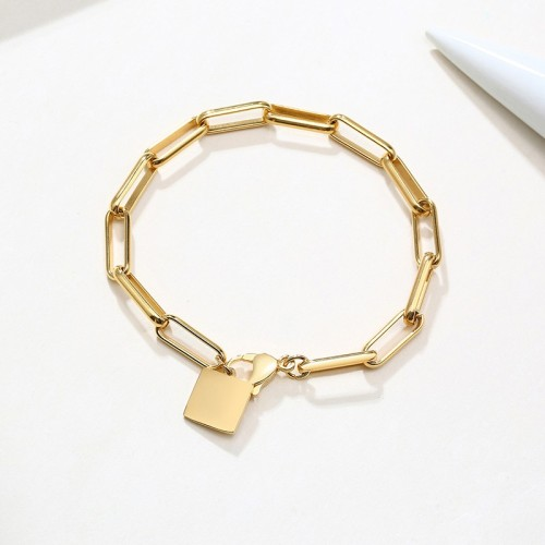 Minimalist chunky clip chain bracelet with square tag in gold plating B-758