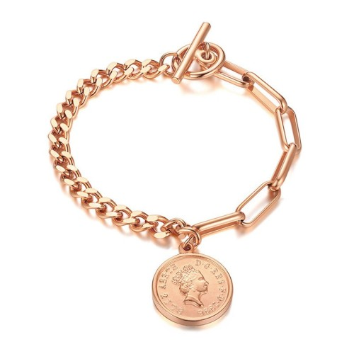 Rose gold plated chunky clip and curb chain toggle bracelet with coin B-802