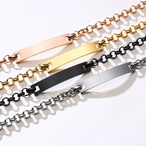Minimalist bar bracelet with chunky cable chain in stainless steel B-449