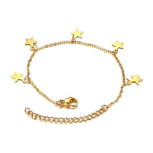 Five star charms with chain bracelet in gold plated stainless steel B-775