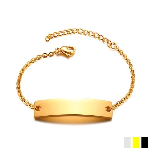 Yellow gold plated bent bar minimalist bracelet in stainless steel B-473
