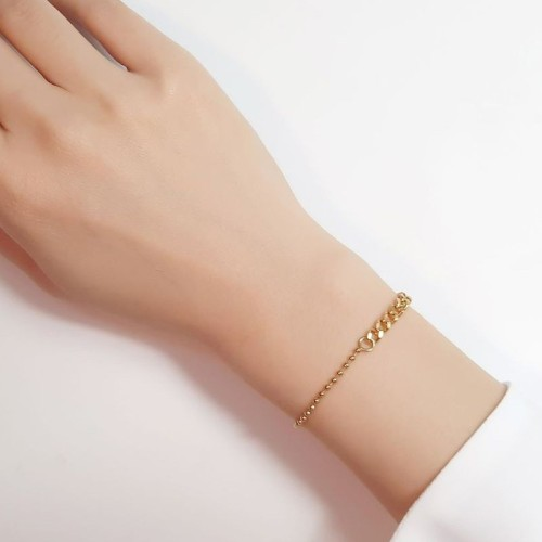 Ball chain joint with curb chain minimalist bracelet in gold plating B-553