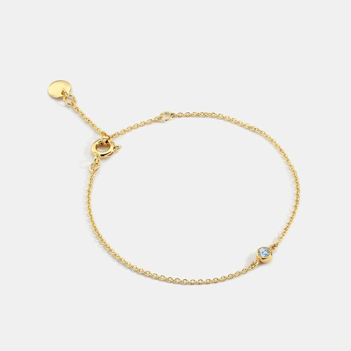 Wholesale Lonely station cubic zirconia bezel set chain bracelet in 14k gold plating