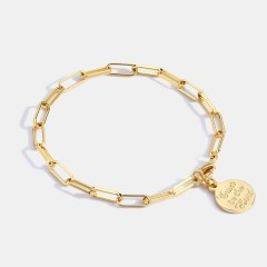 Wholesale Personality medal chain with chunky chain bracelet in 14k gold plating